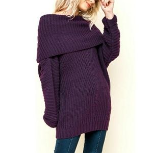Oversized Fold Over Chunky Ribbed Sweater Purple
